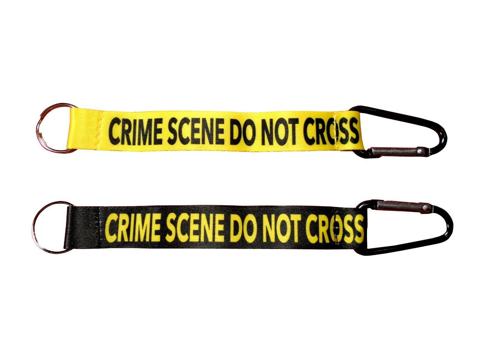 Crime Scene Do Not Cross Short Lanyard Keychain Strap with C
