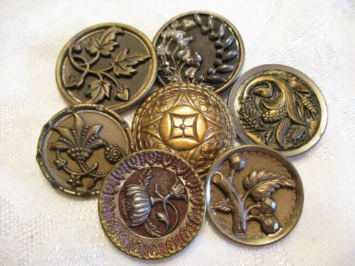 LOT of 7 LARGE Antique MIXED METALS Flower Picture FLORAL CLOTHING BUTTONS