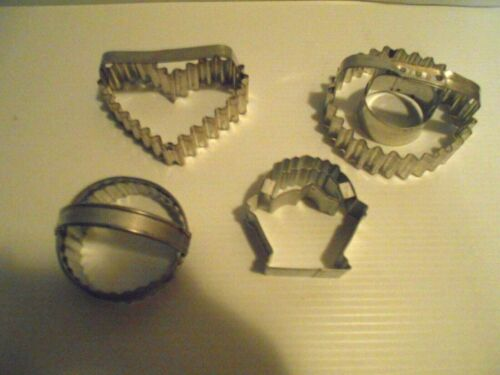 4 VINTAGE METAL CRIMPED  COOKIE CUTTERS