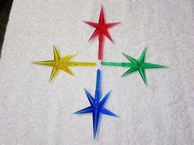 LARGE STARS SET OF 5 FOR CERAMIC CHRISTMAS TREES--RED, BLUE,GOLD,GREEN ()