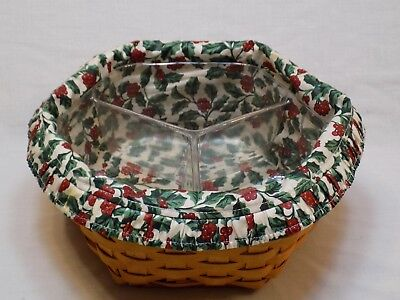 Longaberger Basket Christmas Holly Berry Apron Liner Holiday Signed 1998 6 Side