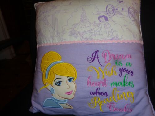 LARGE CINDERELLA PLUSH PILLOW A DREAM IS A WISH YOUR HEARTS MAKES WHEN READING