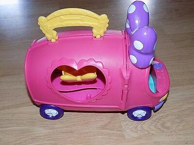 2011 Disney Minnie Mouse Boutique Tour Bus Van Rolling Vehicle Opens Mattel EUC