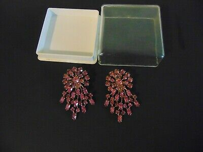 1920s Art Deco Jewelry: Earrings, Necklaces, Brooch, Bracelets Long Vintage Art Deco Revival GOLD tone Clip Back Pink Glass Earrings W/CASE $8.00 AT vintagedancer.com