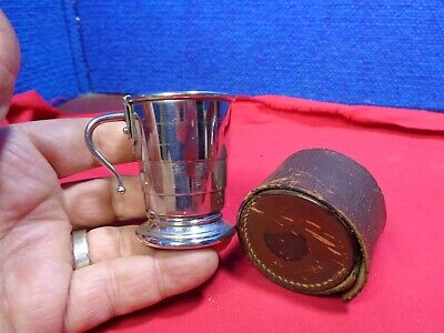 ANTIQUE COLLAPSIBLE TRAVEL DRINKING CUP WITH MOVING HANDLE & CASE