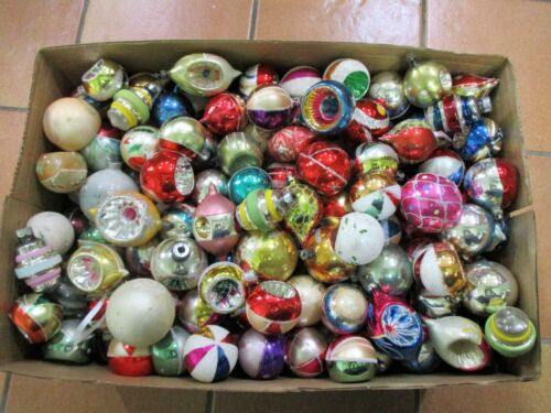 Vtg Christmas Tree Glass Ornaments Shiny Brite Poland USA - Mixed lot of over 60
