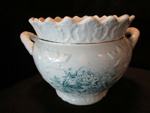 ANTIQUE JARDINIERE PLANTER FORD CITY DORIC Pottery w/ handles 1890