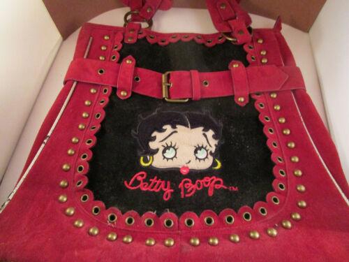 Vintage Betty Boop Handbag Purse Red Velvet Felt Belted