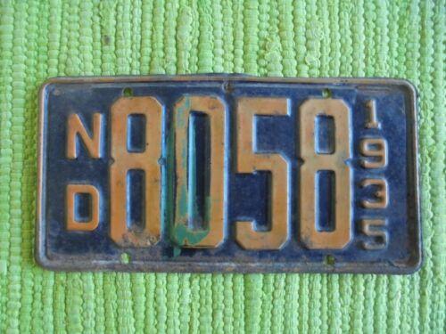 1935 North Dakota License Plate ND 35 Tag 8058