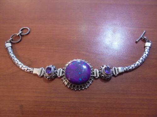 "Vtg Sterling silver amethyst unique purple stone bracelet 8.25-8.75"" 25.8 grams"