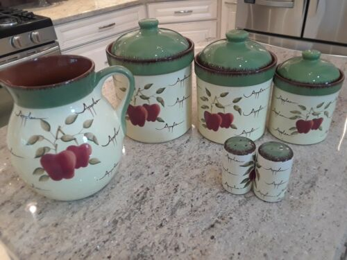 HOME INTERIORS APPLE ORCHARD COLLECTION CANISTER SET/ PITCHER/SALT PEPPER