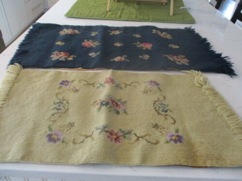 2 old needlepoint pieces/runners? Navy blue and gold with flowers. Nice