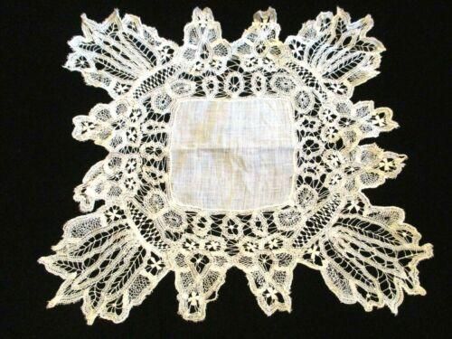 MOST FABULOUS 1900s Antique HANDMADE Tape LACE & Fine LINEN Wedding HANKY