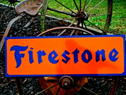 """36"""" Vintage Hand Painted FIRESTONE FARM TIRES Tractor Truck Gas Station Oil Sign"""