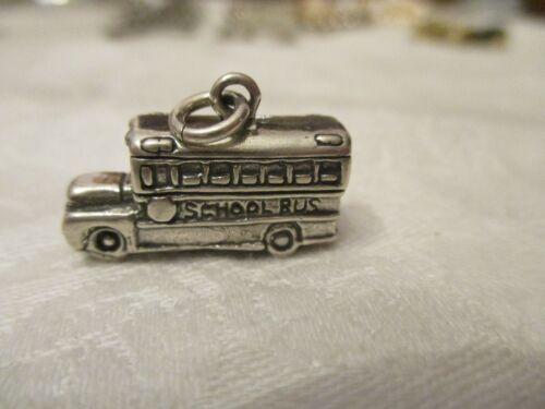 Vintage sterling silver School bus charm