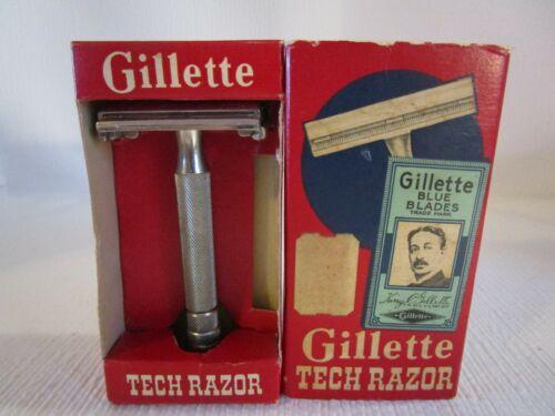 Vintage Tech Gillette Safety Razor in Original Box with Blue Blades Razor Blade