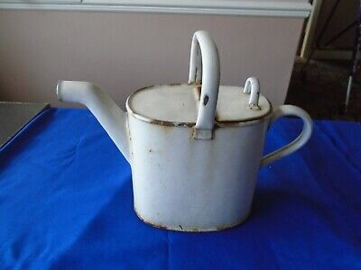 RARE VINTAGE ENAMEL WATERING CAN HINGED LID ARCHITECTURAL ANTIQUES GARDEN TOOLS