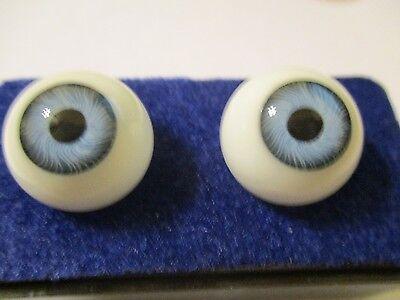 Vintage KAIS German GLASS DOLL EYES sz 18mm BLUE Antique Bisque or REBORN Doll