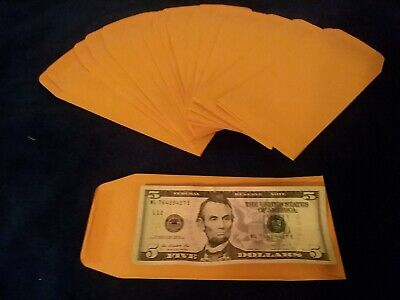 Brown Kraft Coin Envelopes 3.5 X 6.5 New 75 Count.