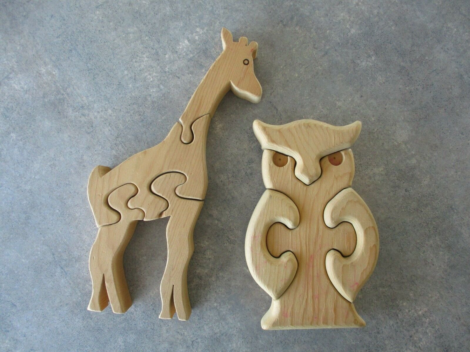 Vintage Hand-Made Solid Wood Children's Animal Shape Puzzles Giraffe And Owl