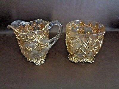 Vintage Cream & Sugar Set Clear Glass With Gold Color Accents (Cat.#11A056)