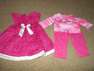 """18"""" Doll Handmade Retired Doll Clothes pink print dress/pink pants/camoflage tee"""