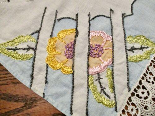 "Hand made 48 ""Long Embroideredl  Buffet Mantle Table Runner Butterfly Garden"