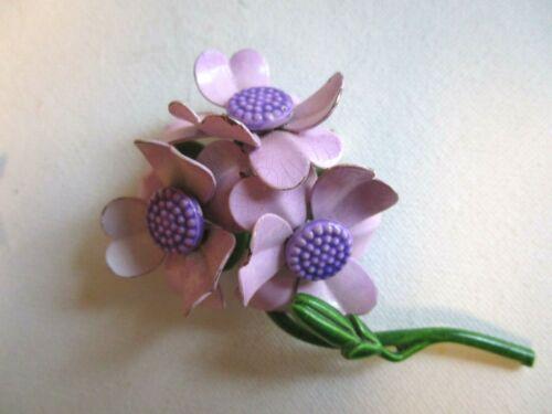 """Vintage Estate Enamel Flower Brooch Purple Green Bouquet Flowers 3-D 3"""""""