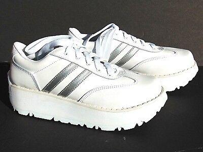 Unique Platform Shoes (Vintage Unique 1980s Soda Platform White Tm Sneakers Tennis Shoes)