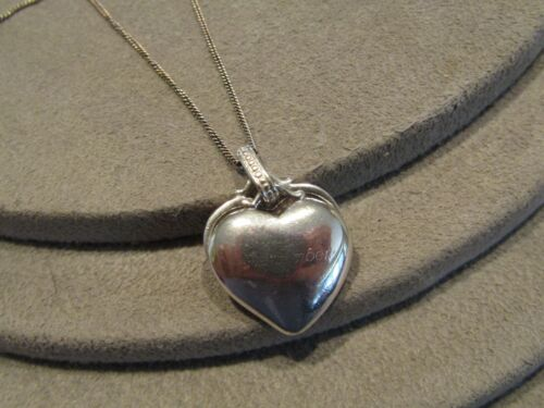 """Vintage Sterling Silver Two Piece Heart Charm """"Remember"""" Pendant Necklace JC"""