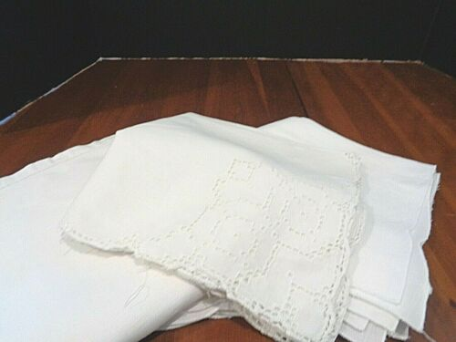Collection of 16 Antique/Vintage napkins 3 sets