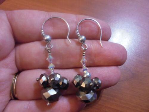 Vtg Sterling silver unique hematite clear crystal dangle hook earrings 7.3 grams