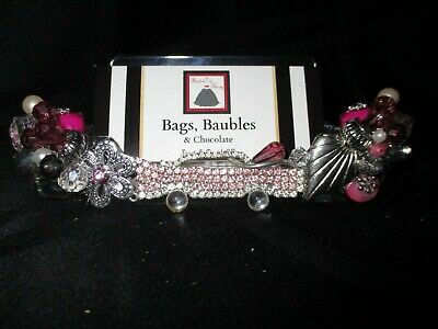 Blinged Out Business Card Holder--one Of A Kind--display Your Cards In Style--