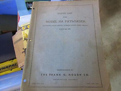 Payloader Model Ha Parts List