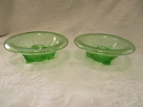 Vintage~Hazel Atlas Glass~Green Royal Lace~Rolled Candlestick Holders~2 qty.1935