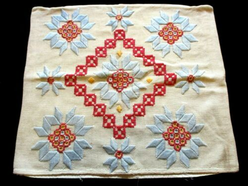 ARTS & CRAFTS 1900s Antique EMBROIDERED Hardanger LINEN Pillow CASE Pillowcase