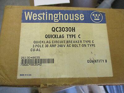 Westinghouse Qc3030h 30 Amp 3 Pole 240 Volt Circuit Breaker Box Of 8- New