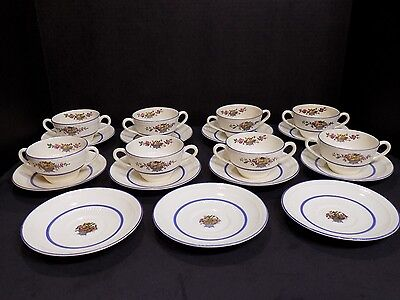 Rare RORSTRAND ROR10 Flower Urn Bouquet Soup Bowls / Tea Cups w Saucers Sweden