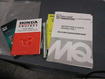 Mq Multiquip A.c. Generators Instructions Parts Manual For Ga-2.5h3.6hz6hzr