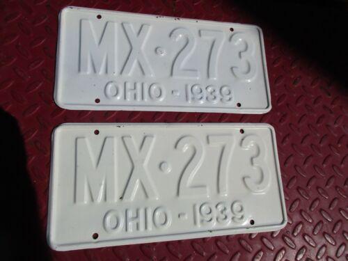 OHIO 1939 LICENSE PLATES/MX273/CHEVY/OLDS/PONTIAC/FORD/MERCURY/AMC/BUICK/CUSTOM