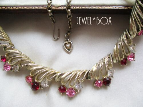 CORO VINTAGE 1950s RED PINK CLEAR CRYSTAL RHINESTONE NECKLACE Heart Charm Gift