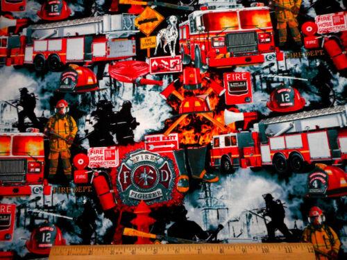 Fireman Fabric By Half-Yard Fire Truck Dog Equipment Black Premium Cotton Nov