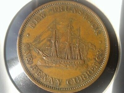 WORLD OLD COINS *****1854 ONE PENNY NEW BRUNSWICK COLLECTIBLES*****
