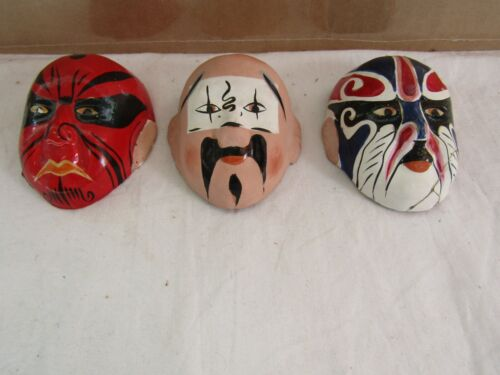 VINTAGE SMALL HAND PAINTED PAPERMACHE MASKS CHINA. T226