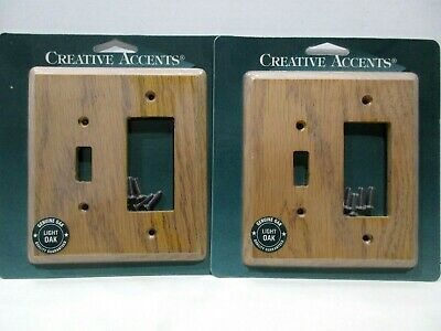 Lot of 2 Creative Accents Wallplates Genuine Light Oak 1 Toggle 1 Rocker New ()