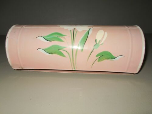 Vintage Ransburg Paper Towel Holder Pink Hand Painted Metal MCM Kitchen Bath