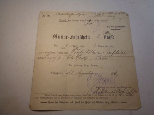 Rare WW1 1916 German New Years Named Soldiers Military Train Ticket Stub 3rd Cl.