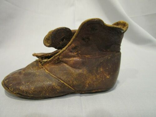 Antique high-top button-down brown leather baby shoe 1880