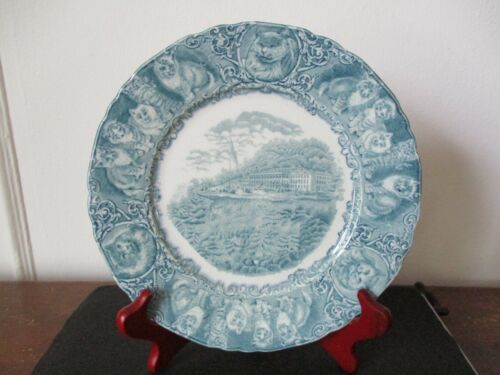 Mid 19th Century Souvenir Catskill Mountain House China Plate Light Green