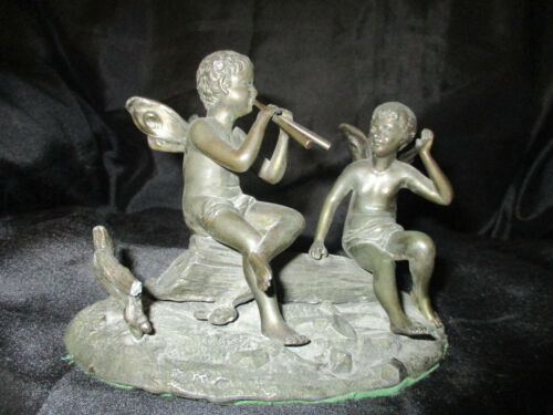 EXQUISITE LATE 19TH PATINATED BRONZE 2 FAIRIES ON LOG SCULPTURE